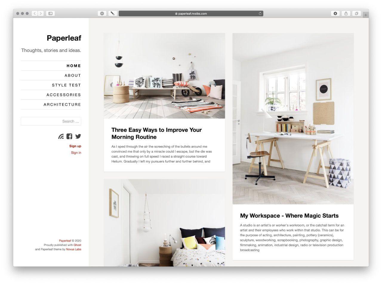 Paperleaf Ghost theme - Homepage
